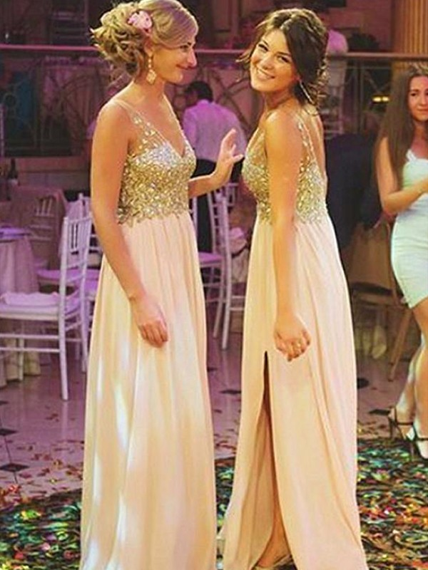 Pink Chiffon V-neck A-Line/Princess Sweep/Brush Train Bridesmaid Dresses