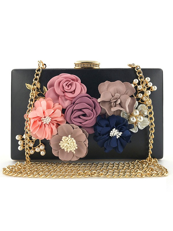Elegant PU Evening/Casual Bags With Flowers