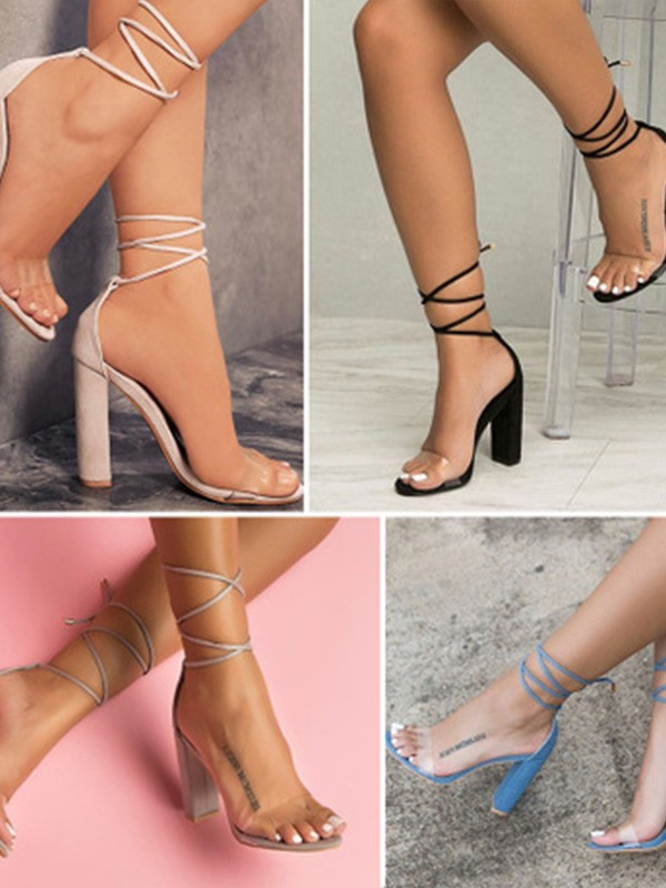 Women Suede Chunky Heel Peep Toe Sandals