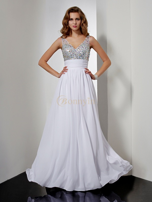 White Chiffon V-neck A-Line/Princess Floor-Length Dresses