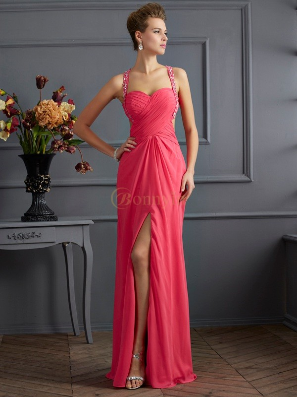 Fuchsia Chiffon Sweetheart Straps Empire Floor-Length Dresses