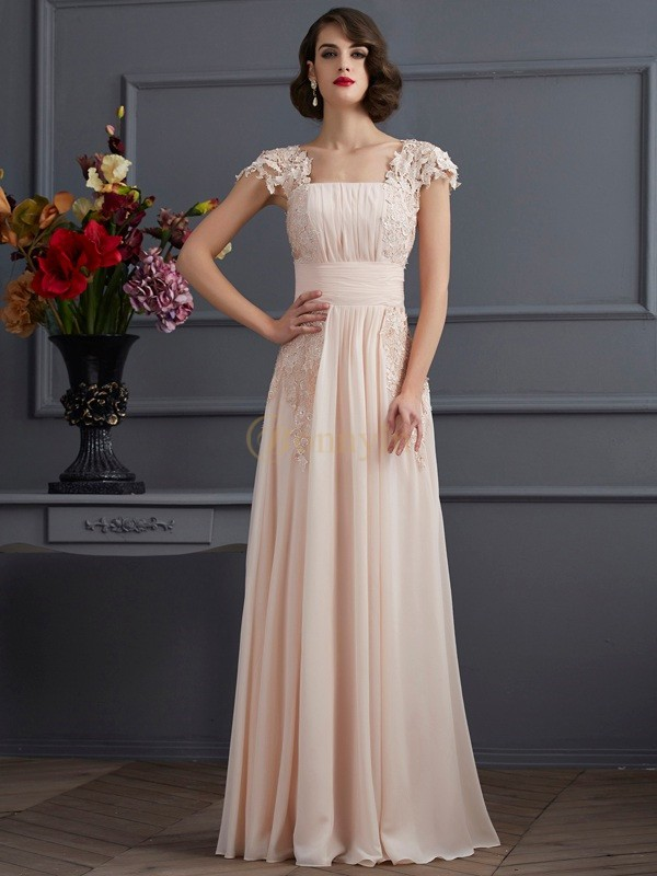 Champagne Chiffon Square A-Line/Princess Floor-Length Dresses
