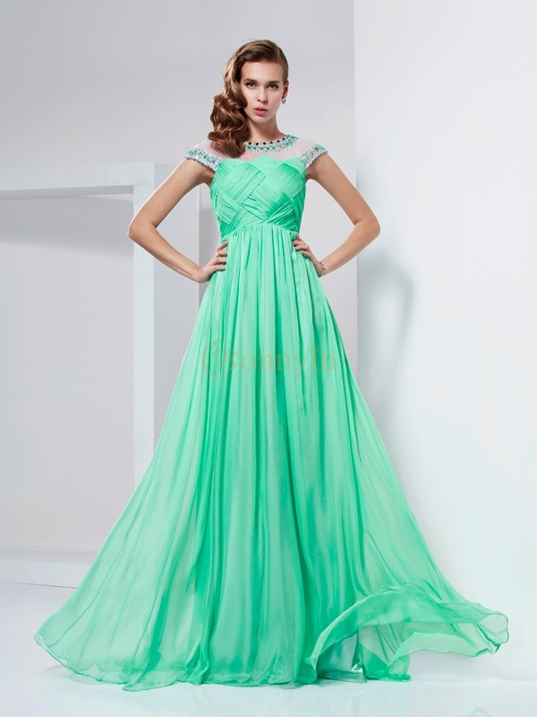 Green Chiffon High Neck A-Line/Princess Floor-Length Dresses
