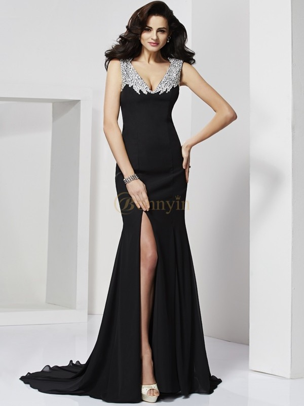 Black Chiffon Straps A-Line/Princess Floor-Length Dresses