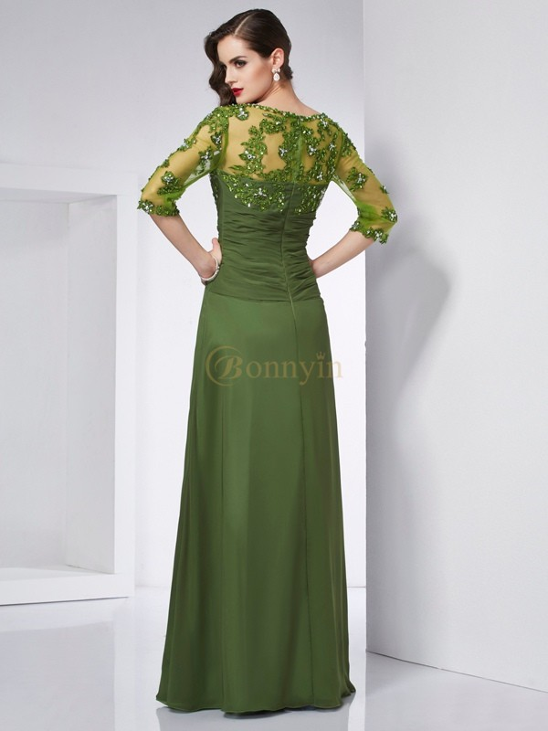 Green Chiffon Sweetheart A-Line/Princess Floor-Length Dresses
