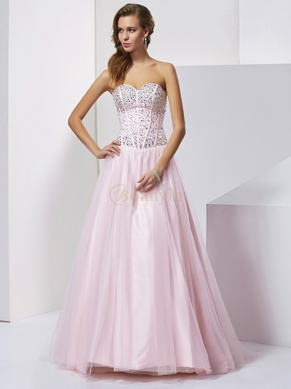 Pearl Pink Satin Sweetheart Ball Gown Floor-Length Dresses