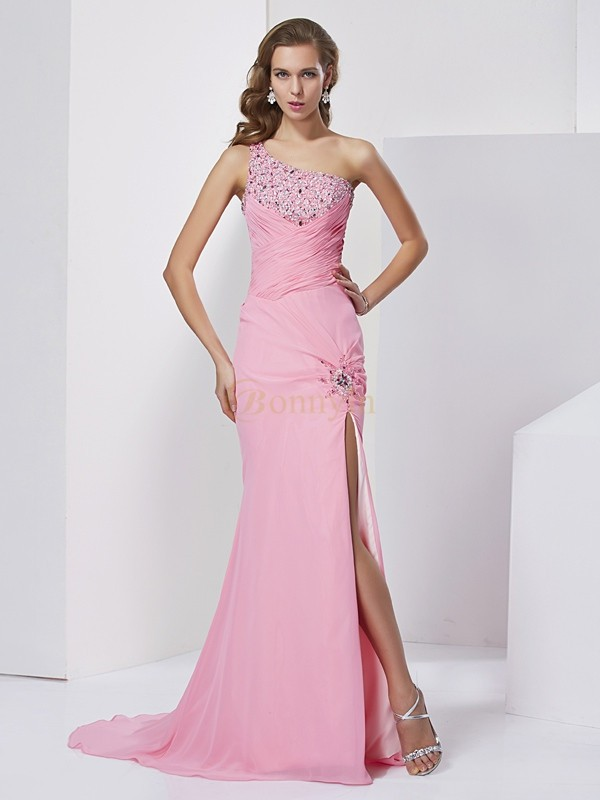 Pink Chiffon Sweetheart Sheath/Column Sweep/Brush Train Dresses