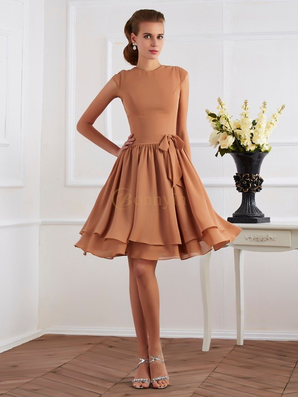 Brown Chiffon High Neck Sheath/Column Knee-Length Bridesmaid Dresses