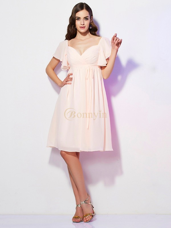 Pearl Pink Chiffon Sweetheart Sheath/Column Knee-Length Bridesmaid Dresses