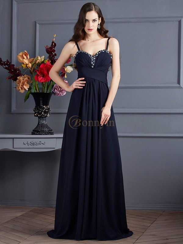 Black Chiffon Spaghetti Straps A-Line/Princess Sweep/Brush Train Dresses
