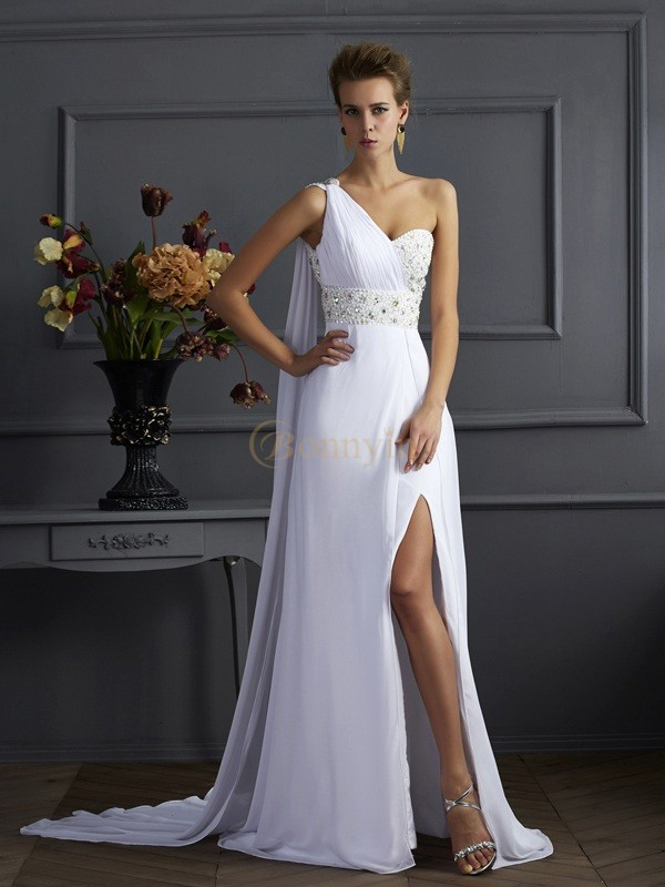 White Chiffon One-Shoulder Sheath/Column Sweep/Brush Train Dresses