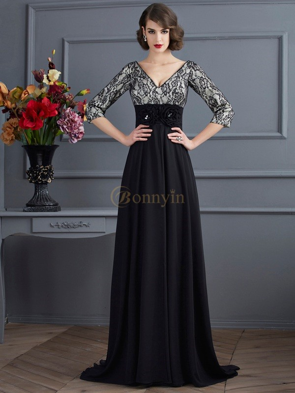 Black Chiffon Elastic Woven Satin V-neck Sheath/Column Sweep/Brush Train Dresses