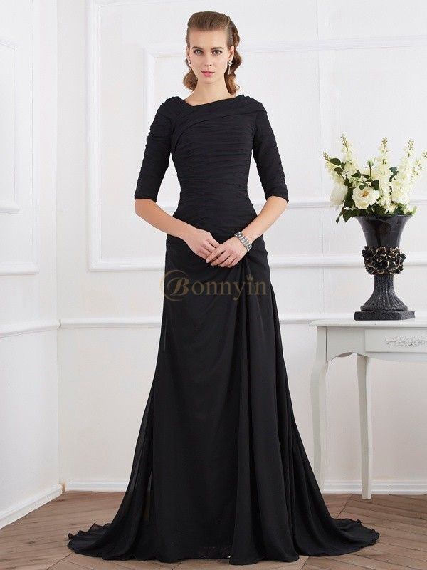 Black Chiffon A-Line/Princess Sweep/Brush Train Dresses