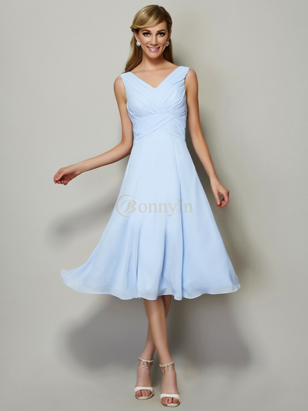 Light Sky Blue Chiffon V-neck A-Line/Princess Tea-Length Bridesmaid Dresses