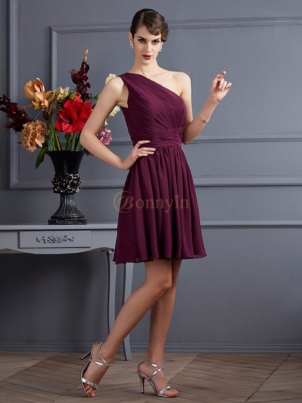 Grape Chiffon One-Shoulder A-Line/Princess Short/Mini Bridesmaid Dresses