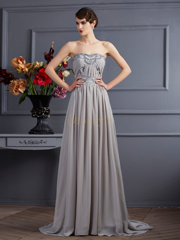 Grey Chiffon Sweetheart A-Line/Princess Sweep/Brush Train Dresses