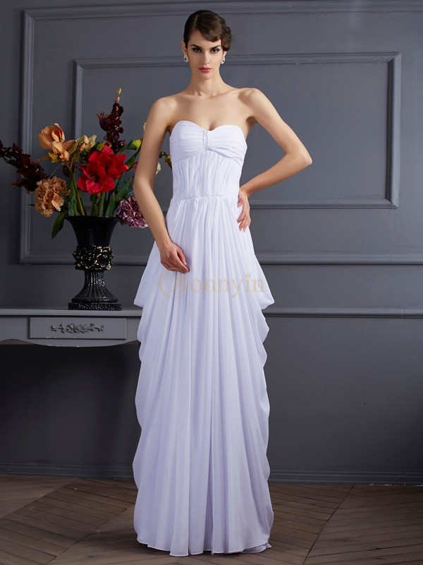 White Chiffon Sweetheart Sheath/Column Floor-Length Dresses