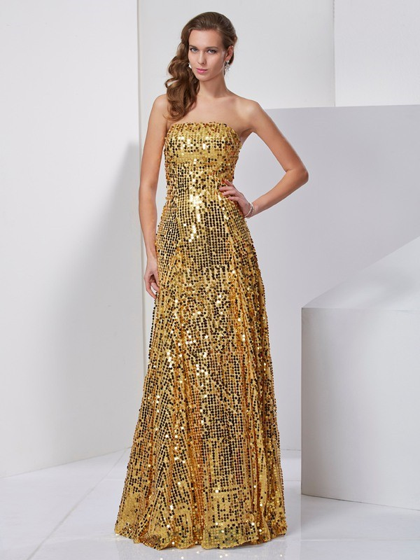 Gold Satin Strapless A-Line/Princess Floor-Length Dresses