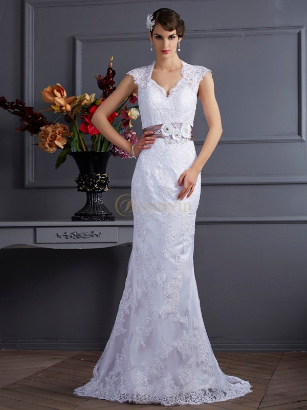 White Satin Trumpet/Mermaid Sweep/Brush Train Wedding Dresses