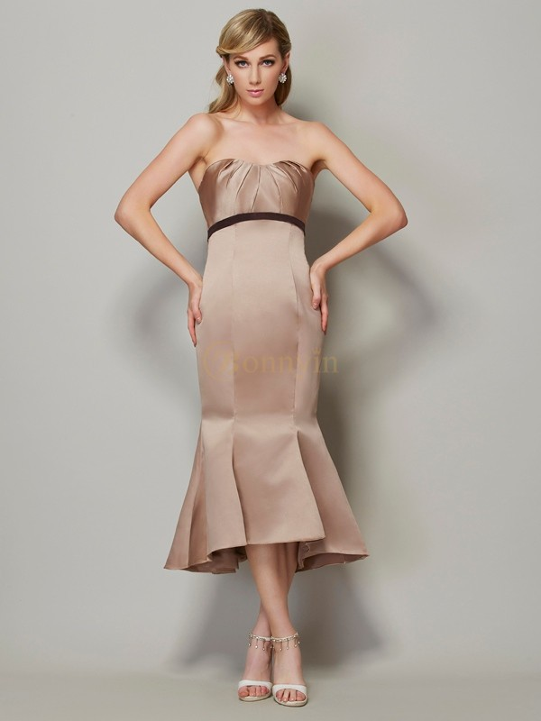 Champagne Satin Strapless Sheath/Column Tea-Length Dresses