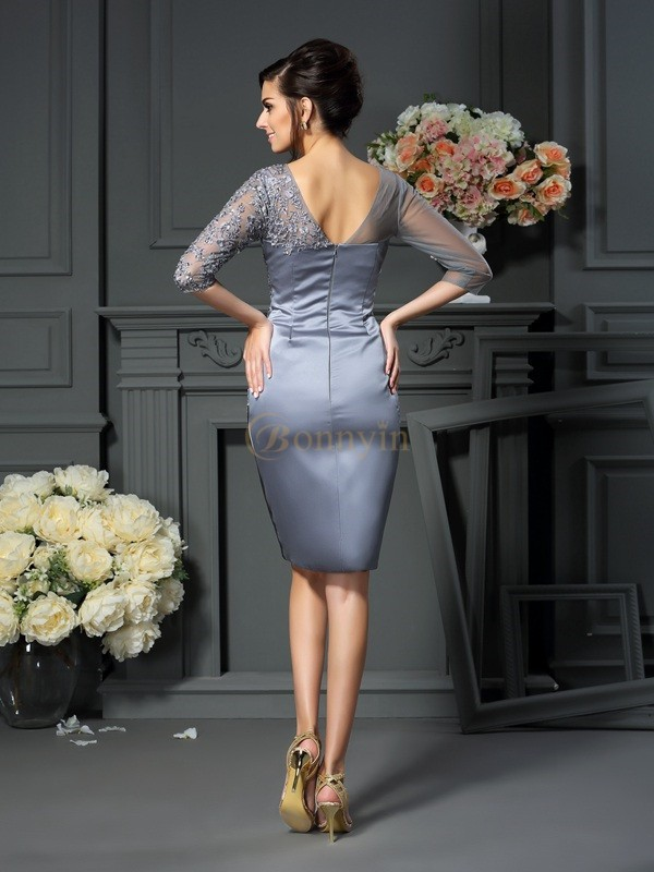 Silver Satin Scoop Sheath/Column Knee-Length Mother of the Bride Dresses