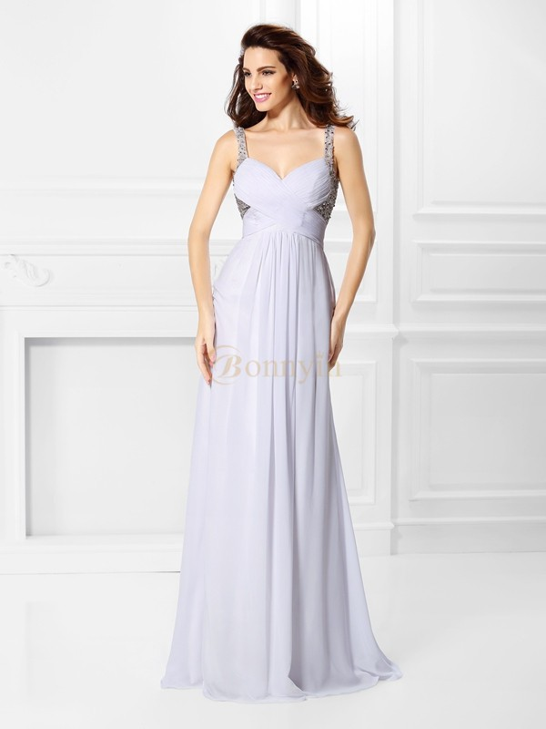 White Chiffon Straps A-Line/Princess Floor-Length Prom Dresses