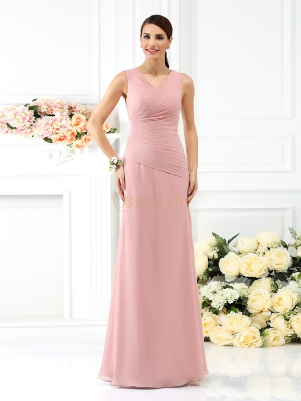 Watermelon Chiffon V-neck Sheath/Column Floor-Length Bridesmaid Dresses
