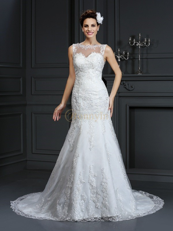 Ivory Satin Bateau Sheath/Column Court Train Wedding Dresses