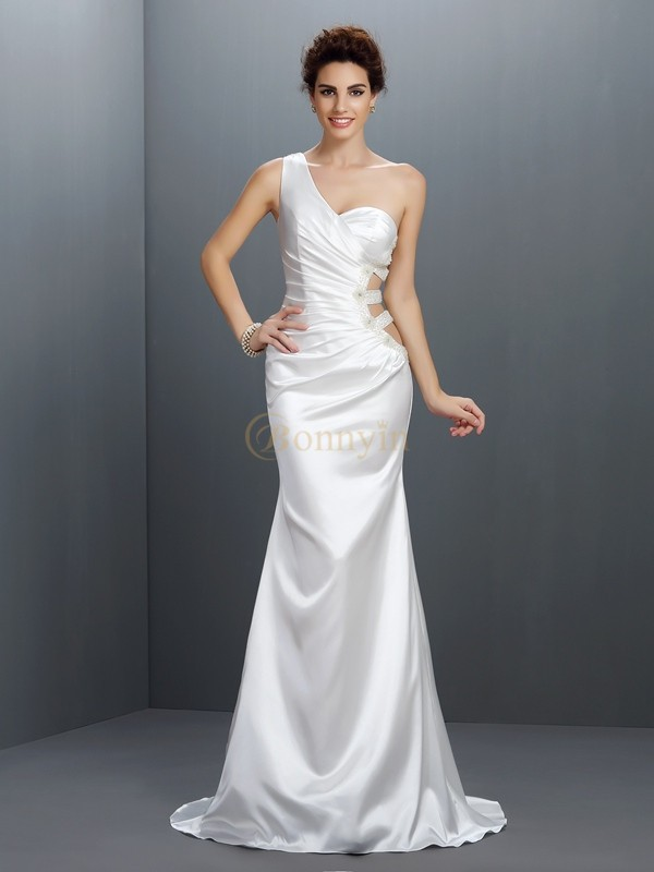 Silver Elastic Woven Satin One-Shoulder Trumpet/Mermaid Sweep/Brush Train Prom Dresses