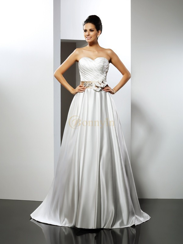 Ivory Satin Sweetheart A-Line/Princess Court Train Wedding Dresses