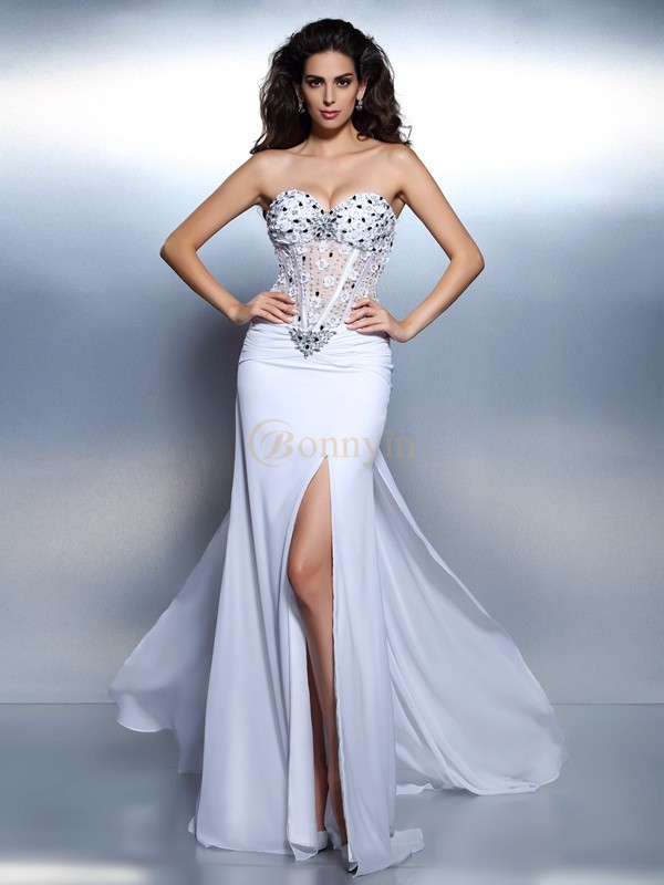 White Chiffon Sweetheart Trumpet/Mermaid Floor-Length Dresses