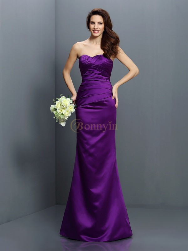 Regency Satin Strapless Trumpet/Mermaid Floor-Length Bridesmaid Dresses