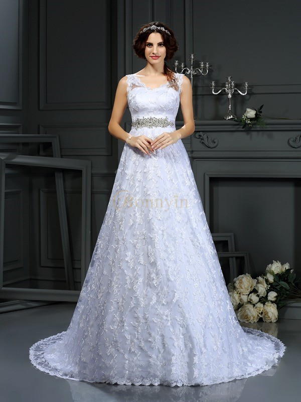 White Satin V-neck A-Line/Princess Court Train Wedding Dresses