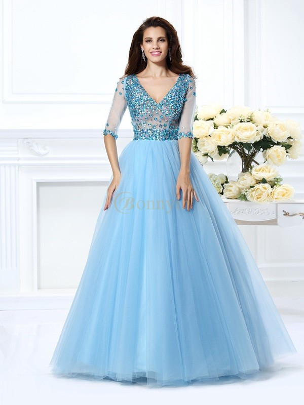 Light Sky Blue Satin V-neck Ball Gown Floor-Length Dresses