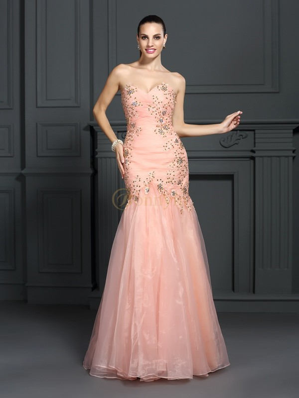 Orange Organza Sweetheart Trumpet/Mermaid Floor-Length Dresses