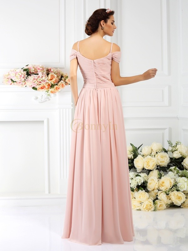 Pink Chiffon Spaghetti Straps A-Line/Princess Floor-Length Bridesmaid Dresses