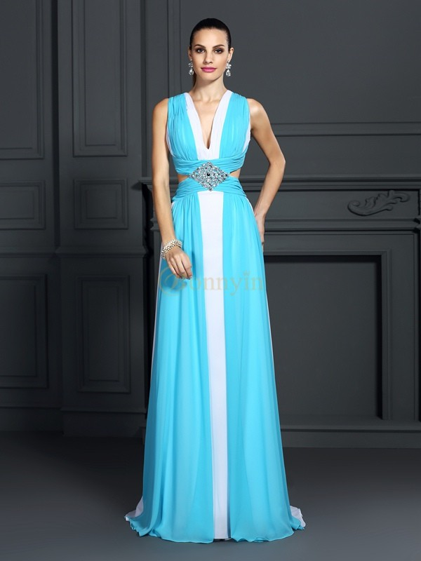 Chiffon Halter A-Line/Princess Sweep/Brush Train Prom Dresses