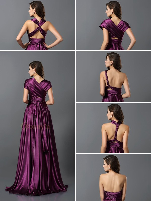 Grape Silk like Satin A-Line/Princess Floor-Length Bridesmaid Dresses