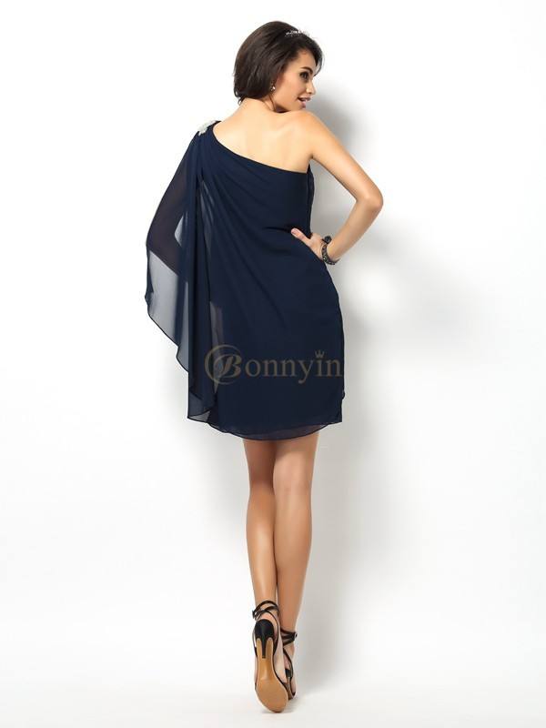 Dark Navy Chiffon One-Shoulder A-Line/Princess Short/Mini Bridesmaid Dresses