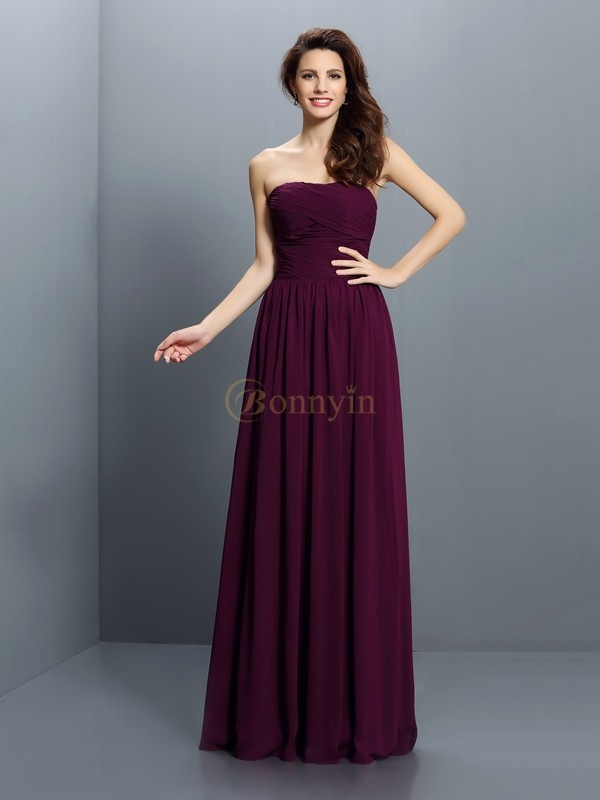 Grape Chiffon Strapless A-Line/Princess Floor-Length Bridesmaid Dresses