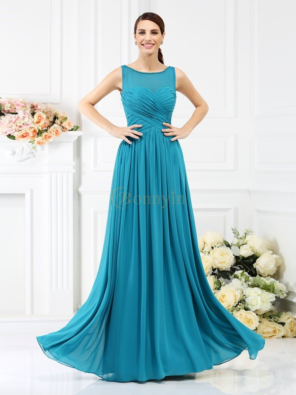 Blue Chiffon Bateau A-Line/Princess Floor-Length Bridesmaid Dresses