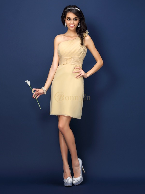 Daffodil Chiffon One-Shoulder Sheath/Column Short/Mini Bridesmaid Dresses