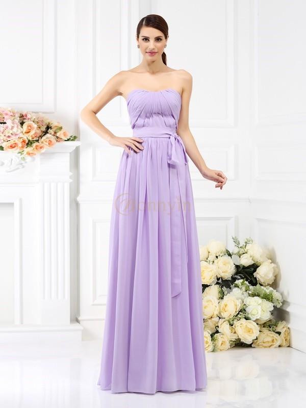Lavender Chiffon Strapless A-Line/Princess Floor-Length Bridesmaid Dresses