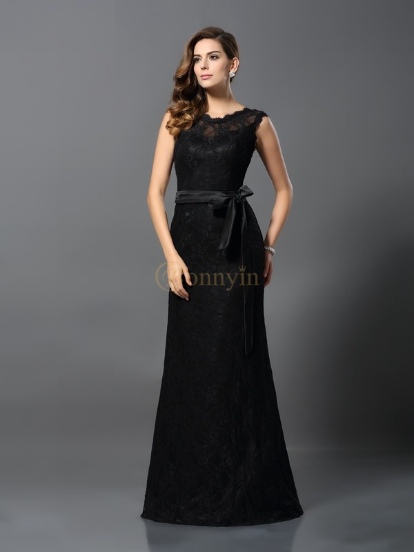 Black Satin Scoop Sheath/Column Floor-Length Dresses