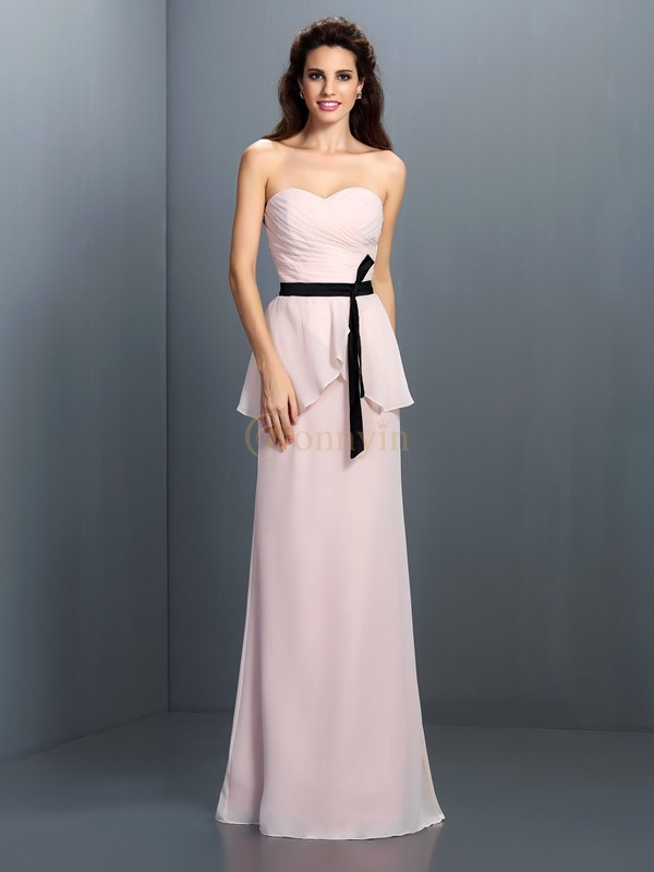 Pearl Pink Chiffon Sweetheart Sheath/Column Floor-Length Bridesmaid Dresses