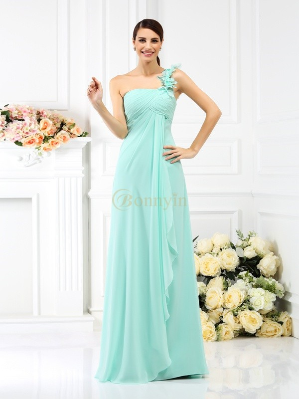 Sage Chiffon One-Shoulder A-Line/Princess Floor-Length Bridesmaid Dresses