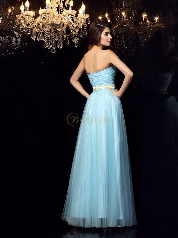 Blue Satin Strapless Ball Gown Floor-Length Prom Dresses