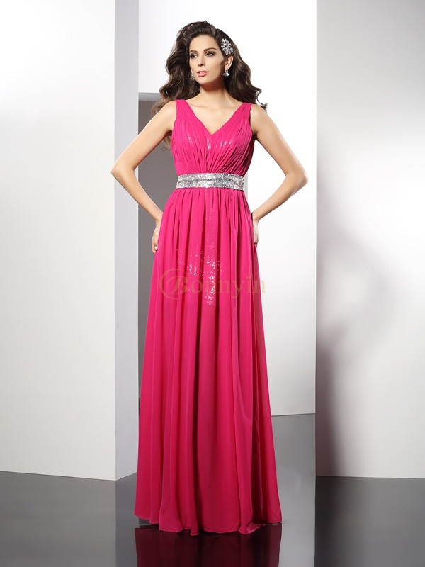 Fuchsia Chiffon V-neck A-Line/Princess Floor-Length Dresses