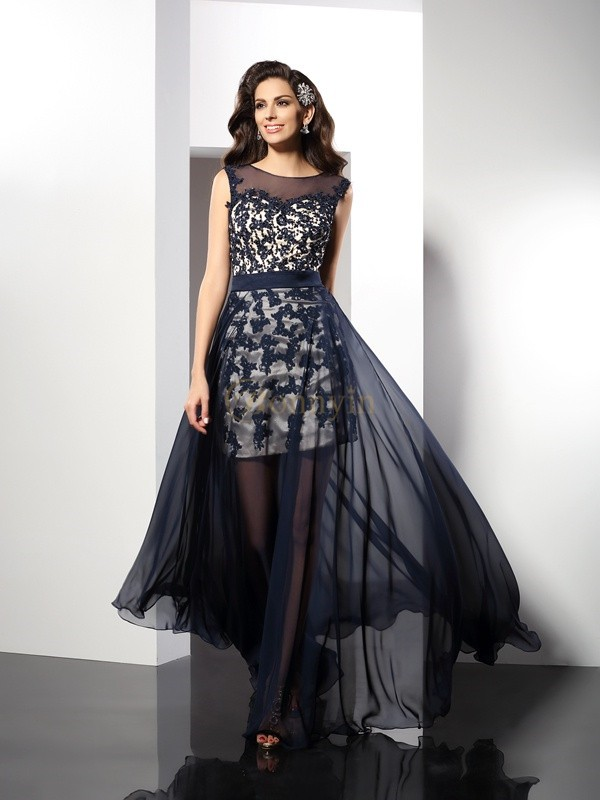 Dark Navy Elastic Woven Satin Scoop A-Line/Princess Floor-Length Dresses