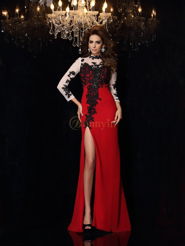 Red Chiffon High Neck Sheath/Column Sweep/Brush Train Prom Dresses